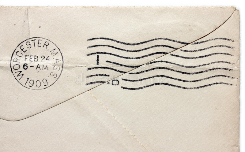 Vintage Postmark. USA - CIRCA 1909: Vintage cancellation postmark from Worcester, Massachusetts on an old envelope, circa 1909 royalty free stock image