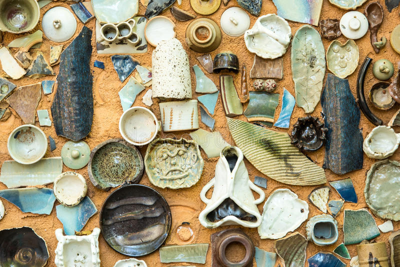Vintage Pottery with texture background. Of ancient pottery shard stock photography
