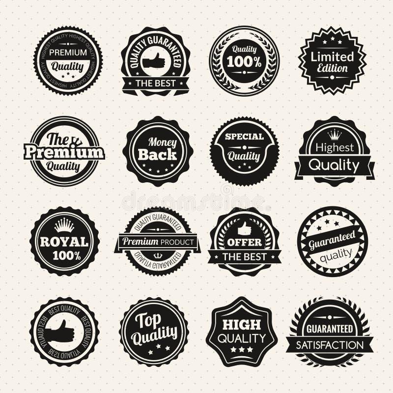 Vintage Premium Quality Black And White Badges stock illustration