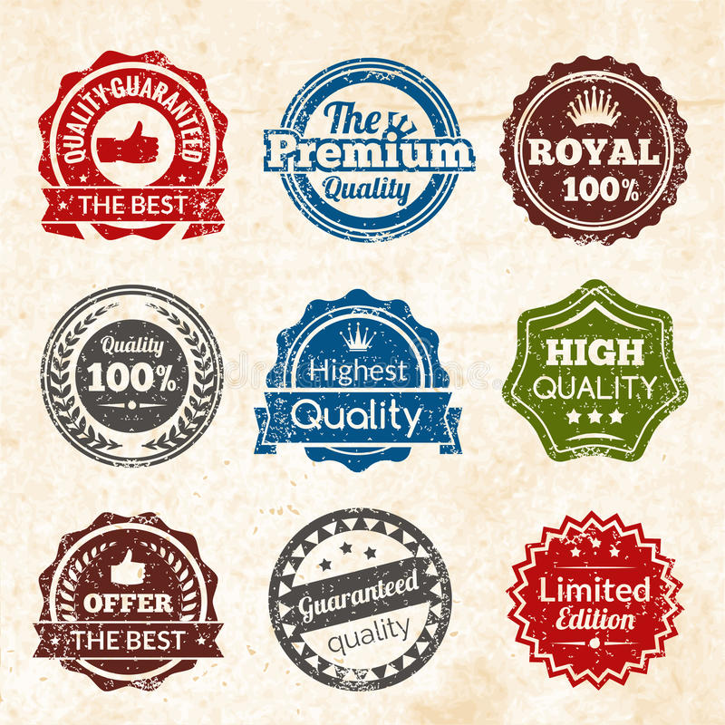 Vintage Premium Quality. Vintage highest guaranteed quality best offer and limited edition round color stamps isolated vector illustration stock illustration