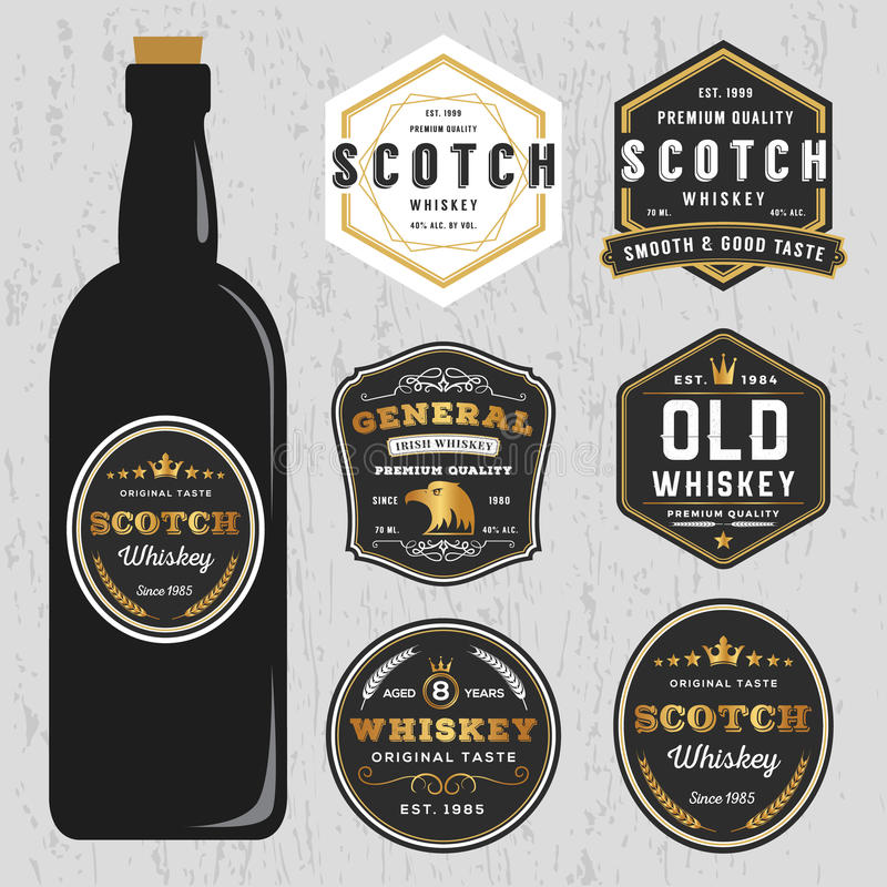 Vintage Premium Whiskey Brands Label Design Template Stock Vector ...
