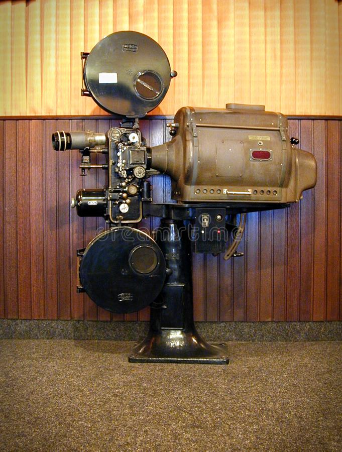 Vintage professional 35mm Cinema Film Projector in a Movie Theatre Lobby stock images