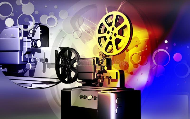 Vintage projector. Digital illustration of vintage projector in colour background royalty free illustration
