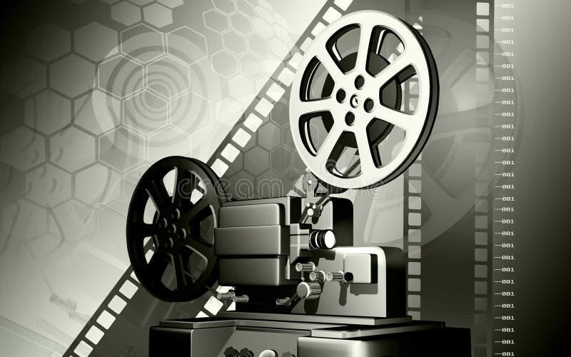 Vintage projector. Digital illustration of vintage projector in colour background stock illustration