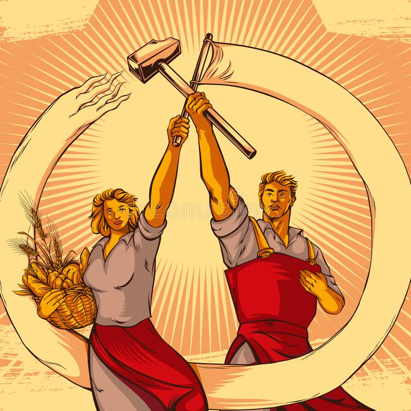 Vintage Propaganda Work And Equality Couple Vector Illustration stock image