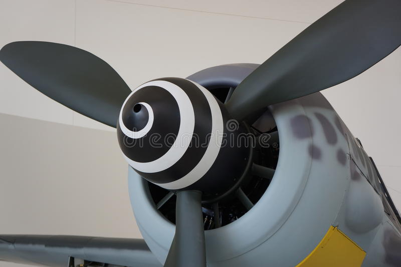 Vintage propeller aircraft with unusual design. Spiral black and white vintage airplane on display at Evergreen Aviation Museum, McMinnville, OR stock photography