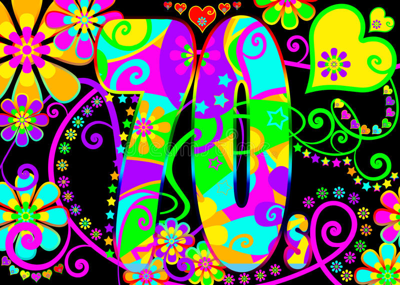 Vintage psychedelic 70s party vector illustration