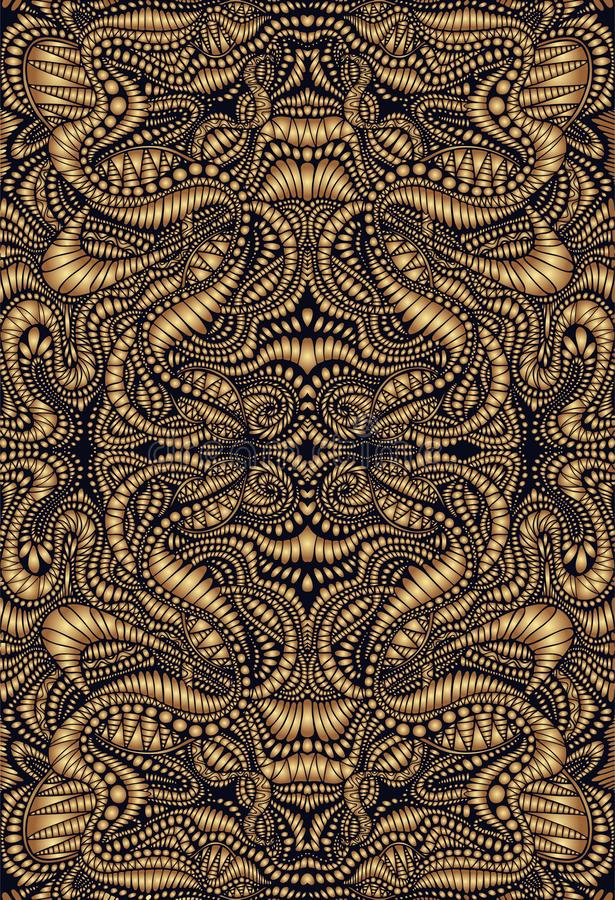 Vintage psychedelic fractal mandala pattern. Steampunk style, golden gradient colors, brown outline. Vector illustration vector illustration