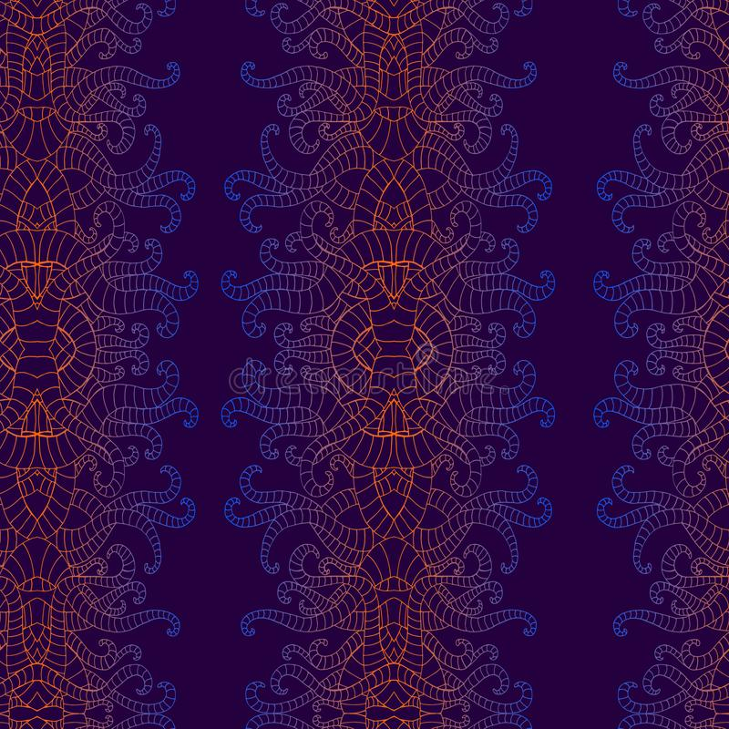 Vintage psychedelic vertical decorative ornament seamless patternt, bright gradient colors. Bohemian fantasy endless royalty free illustration