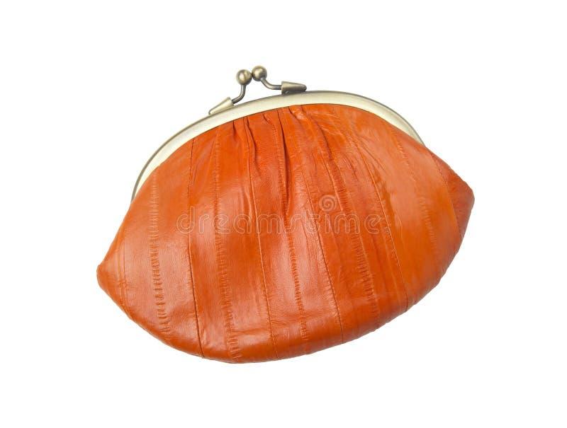 Vintage purse eel skin, orange stock photo