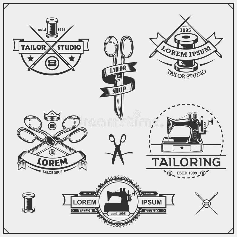 Vintage que costura etiquetas, crachás e elementos do projeto Ajuste dos emblemas de Shop do alfaiate ilustração stock