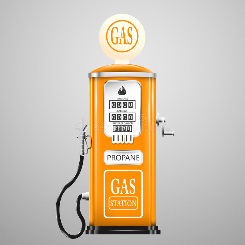 Vintage que olha a bomba de gás ilustração stock