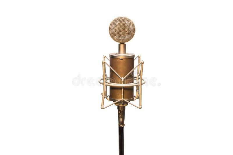 Vintage que olha o microfone da garrafa do estilo de Hitler com o cabo, o shockmount e o suporte isolados no branco imagem de stock