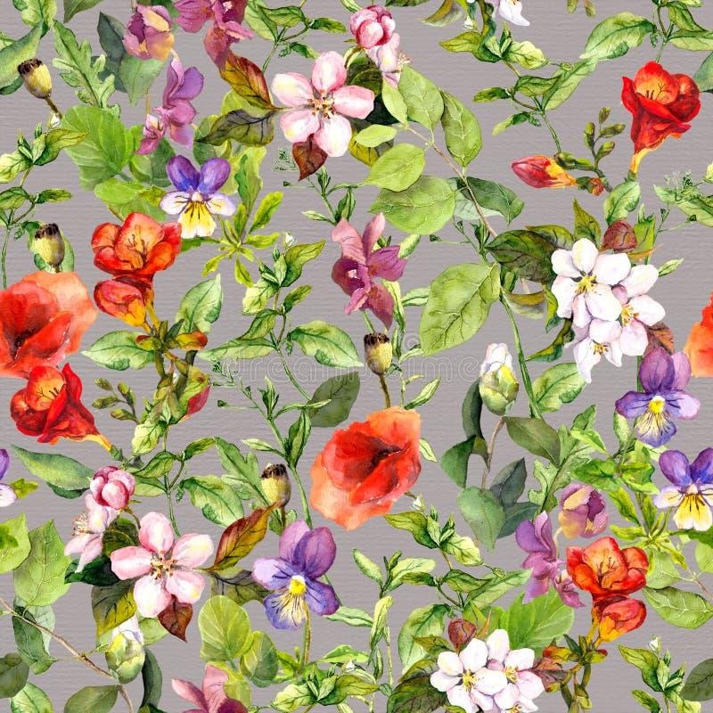 Vintage que repite el estampado de flores, fondo inconsútil de la acuarela del prado ilustración del vector