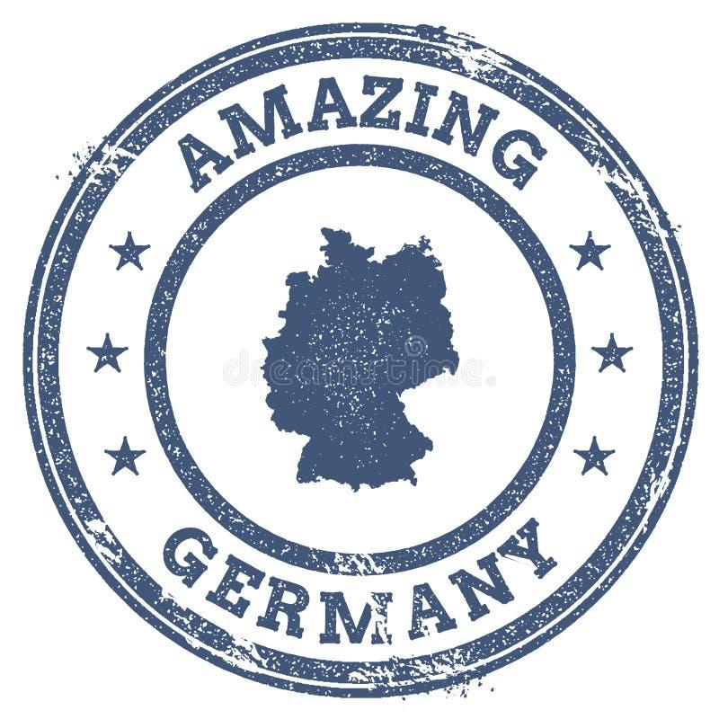 Vintage que sorprende el sello del viaje de Alemania con el mapa ilustración del vector