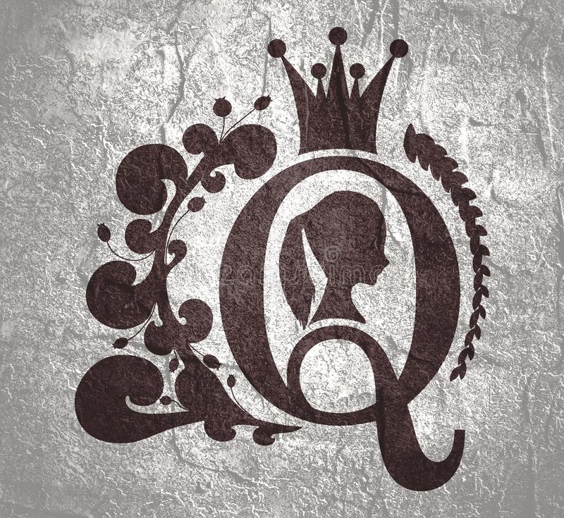 Vintage queen silhouette. Medieval queen profile. Elegant silhouette of a female head. Ponytail hairstyle. Royal emblem with Q letter decorated by floral stock image