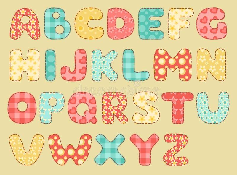 Vintage quilt alphabet. Set patchwork letters vector illustration