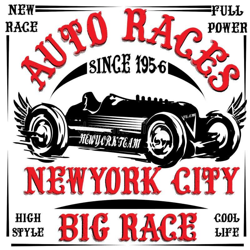Vintage race car print man t shirt vector graphic design royalty free illustration