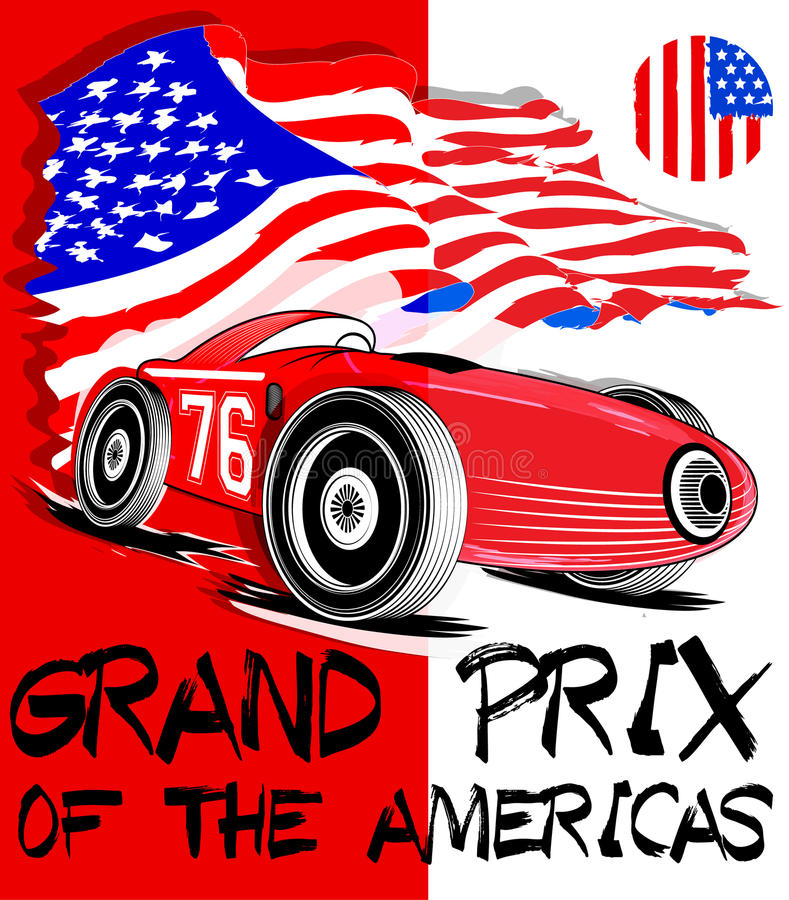 Vintage race car for printing.vector old school race poster. Retro race car set fashion style stock illustration