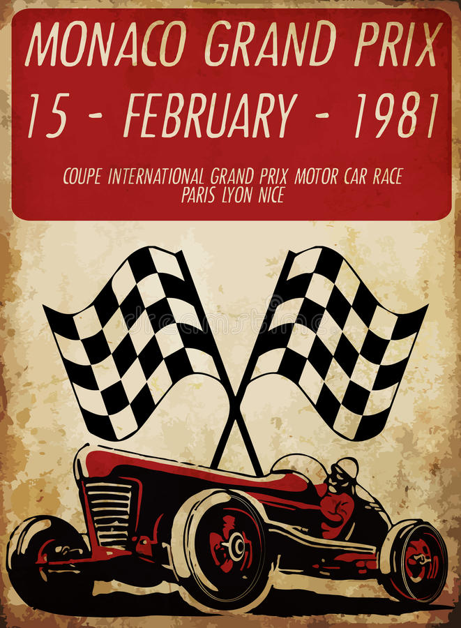 Vintage Race Car For Printing.vector Old School Race Poster. Stock ...