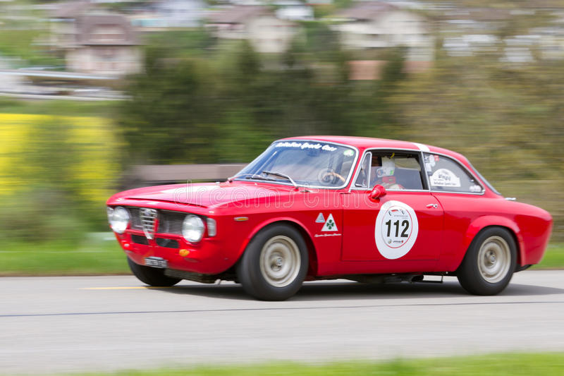 Vintage race touring car Alfa Romeo stock images