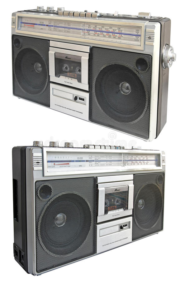 Vintage radio cassette recorder. Isolated on white background royalty free stock image