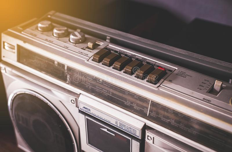 Vintage radio cassette stereo and cd recorder,retro technology royalty free stock image