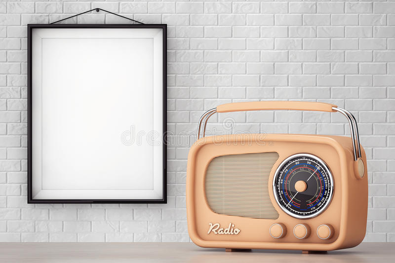 Vintage Radio in front of Brick Wall with Blank Frame stock illustration