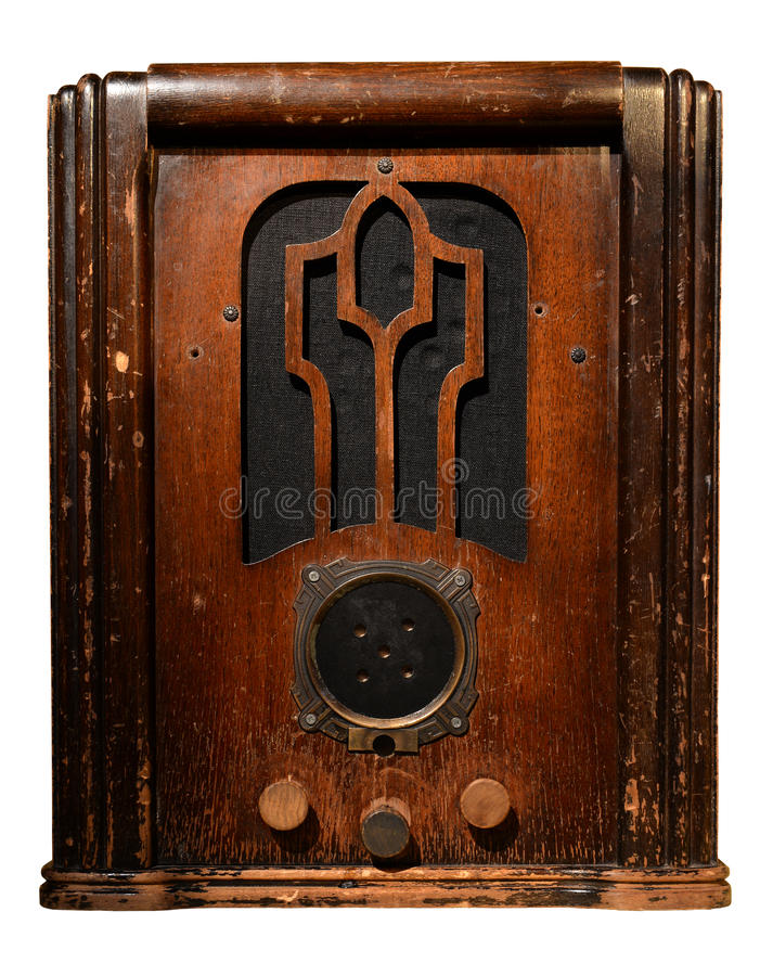 Vintage Radio. Isolated over white background - With clipping path stock photography