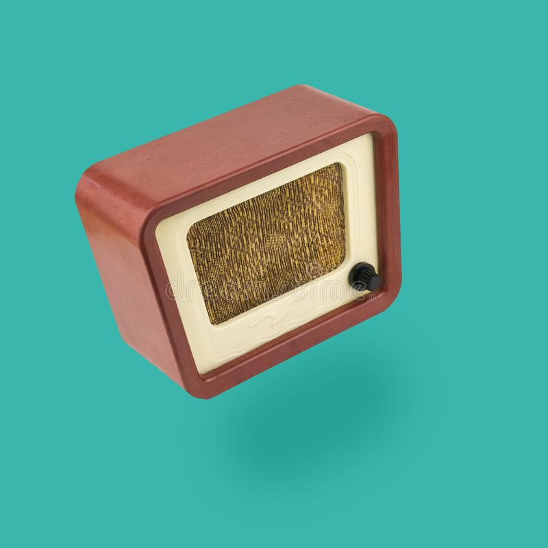 Vintage radio on a solid background. Radio engineering of the past time. stock illustration