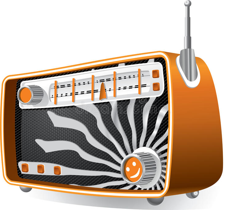 Vintage Radio. Vector illustration of a vintage radio with analog dials and retractable antenna. AI8 vector file included vector illustration
