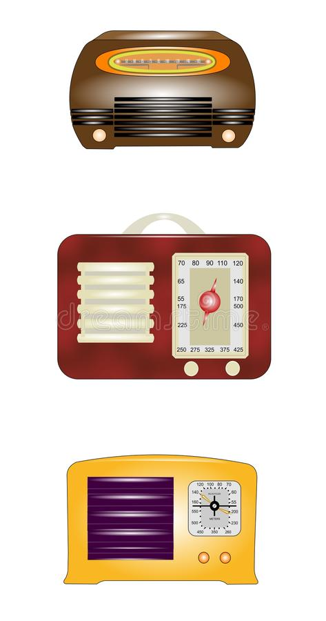 Vintage radios. Popular radios from thirties and forties in classic style and design royalty free illustration