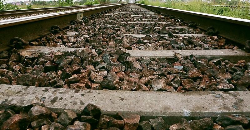 Vintage railroad, railway tracks in a rural scene. stock images