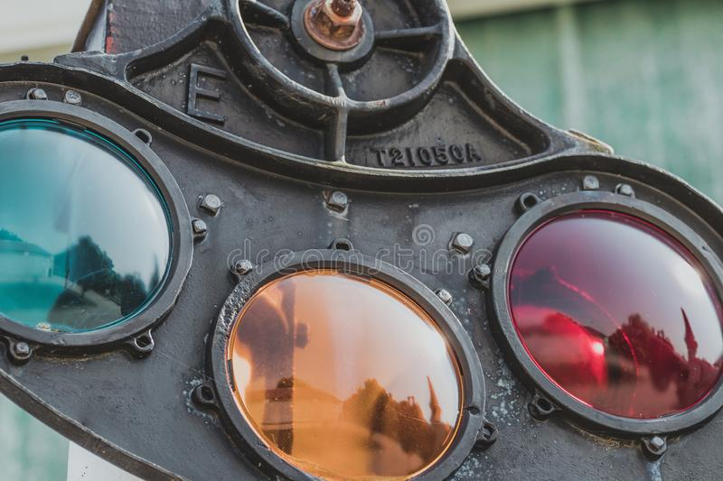 Vintage railroad signal. royalty free stock photography