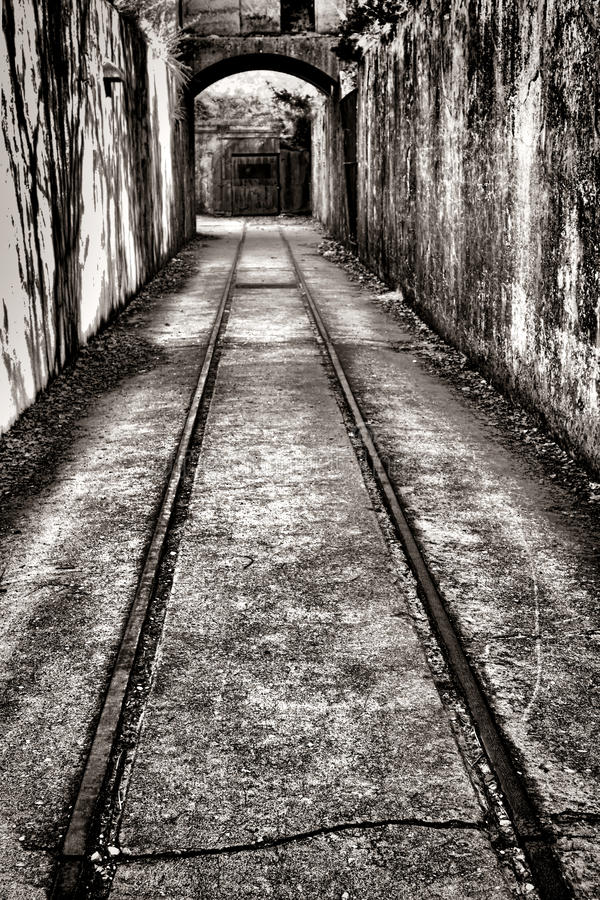 Vintage Railroad Track in Fortified Defense Fort stock photography