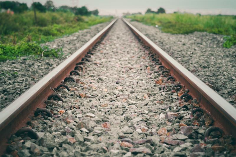 Vintage railroad tracks retro style and old picture. royalty free stock images