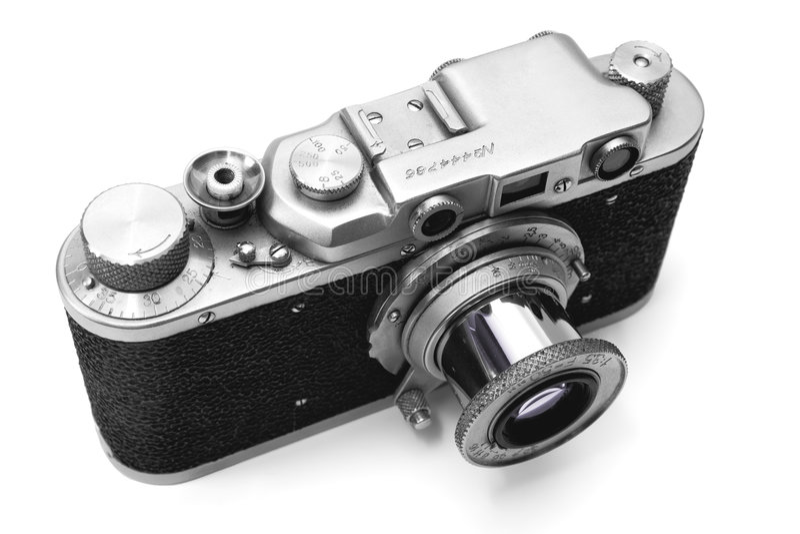 Vintage Rangefinder Camera Over White Stock Photos