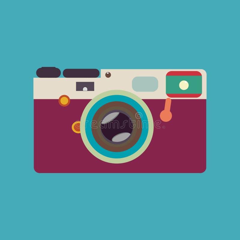 Vintage rangefinder film camera. Colorful vector illustration royalty free illustration