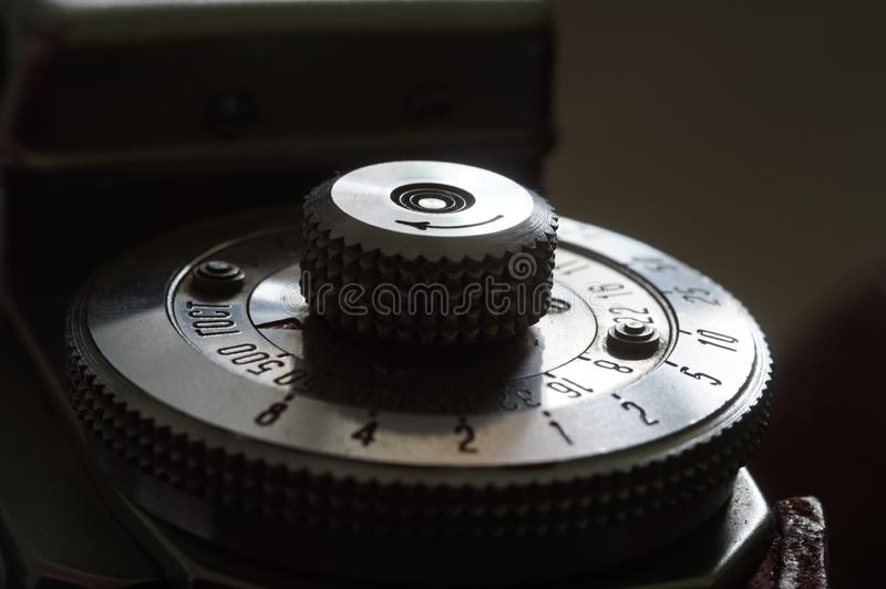 Vintage rangefinder shutter speed dial royalty free stock photo