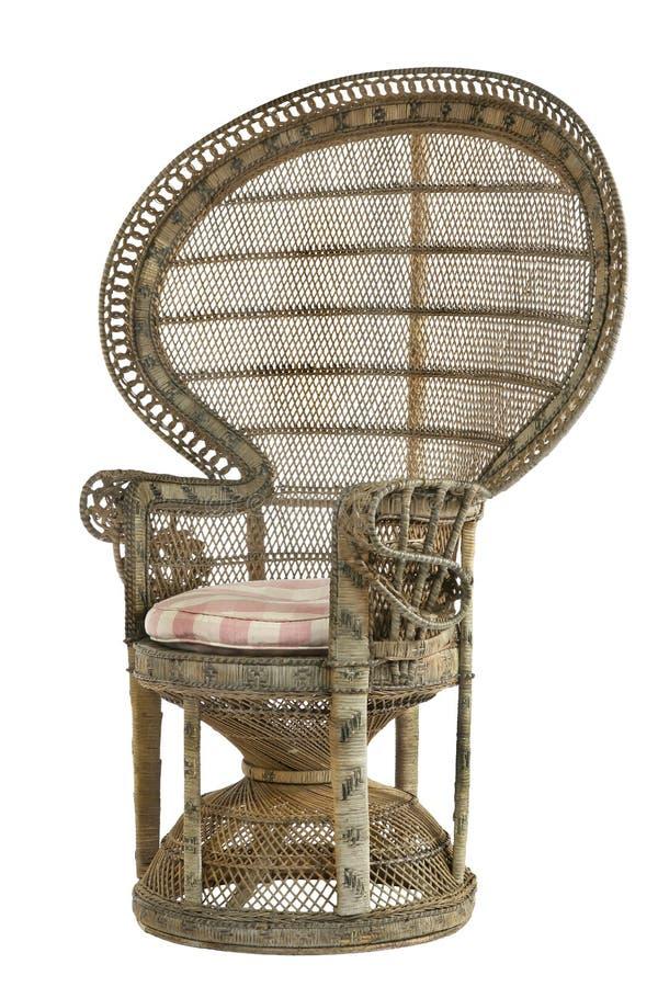 Vintage rare en bambou de rotin en osier de chaise de paon photographie stock libre de droits