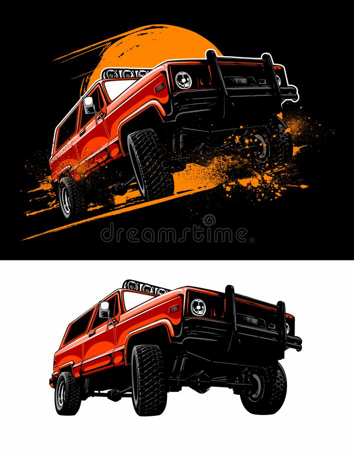 Vintage, realistic off road vehicle, red color car, eighties style vector car image on black and white background. vector illustration