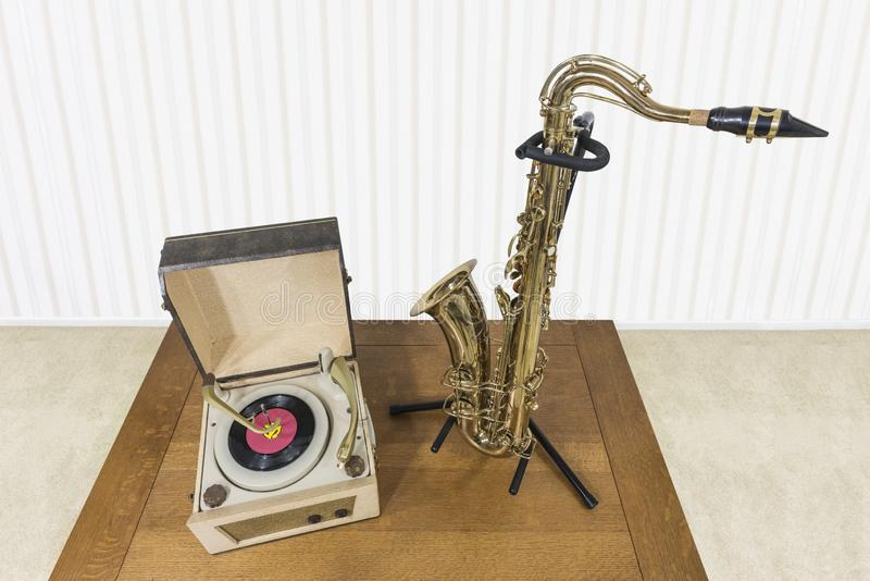 Vintage Record Player and Saxophone royalty free stock photos