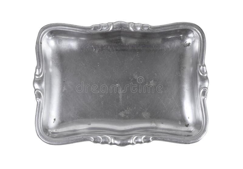 vintage rectangular silver tray on white backgrounds stock photos