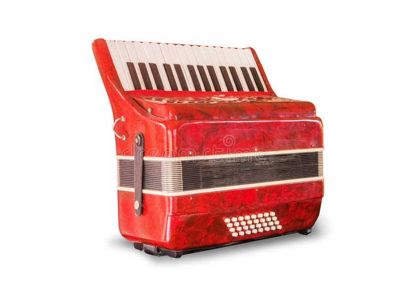 Vintage red accordion,isolated on white background stock photography