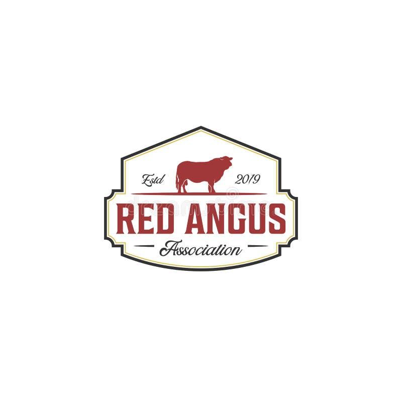 Vintage red angus logo design inspirations royalty free illustration