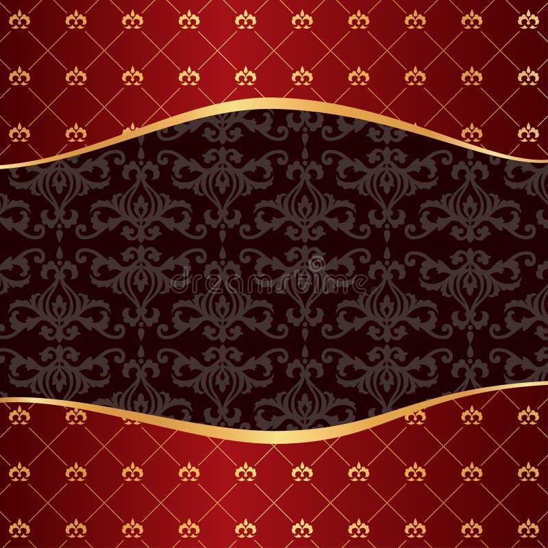 Vintage red background with frame of golden elemen royalty free illustration