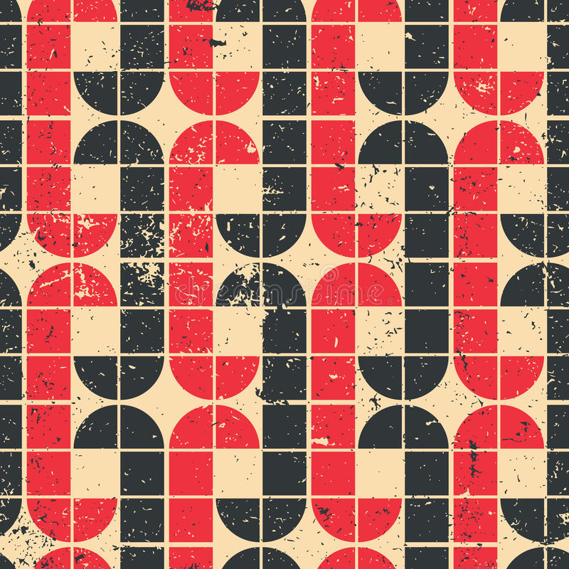 Vintage red and black geometric seamless pattern, vector abstract background. royalty free illustration