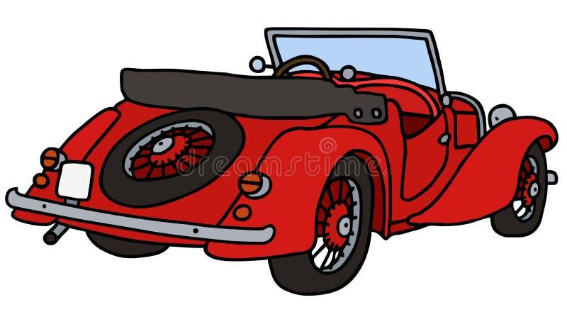 Vintage red cabriolet. Hand drawn vector illustration royalty free illustration