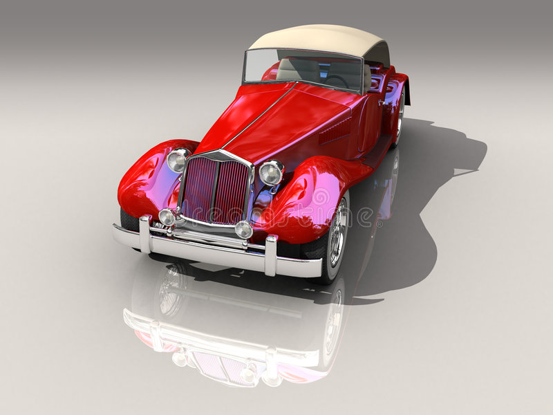 Vintage red car 3D model in front view vector illustration