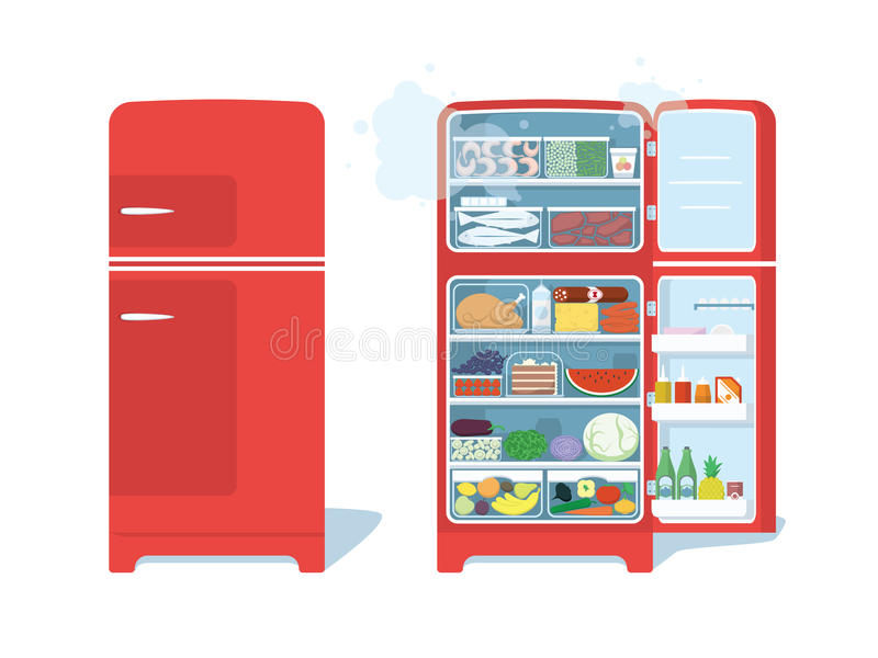 Vintage Red Closed and Opened Refrigerator Full Of Food. stock illustration